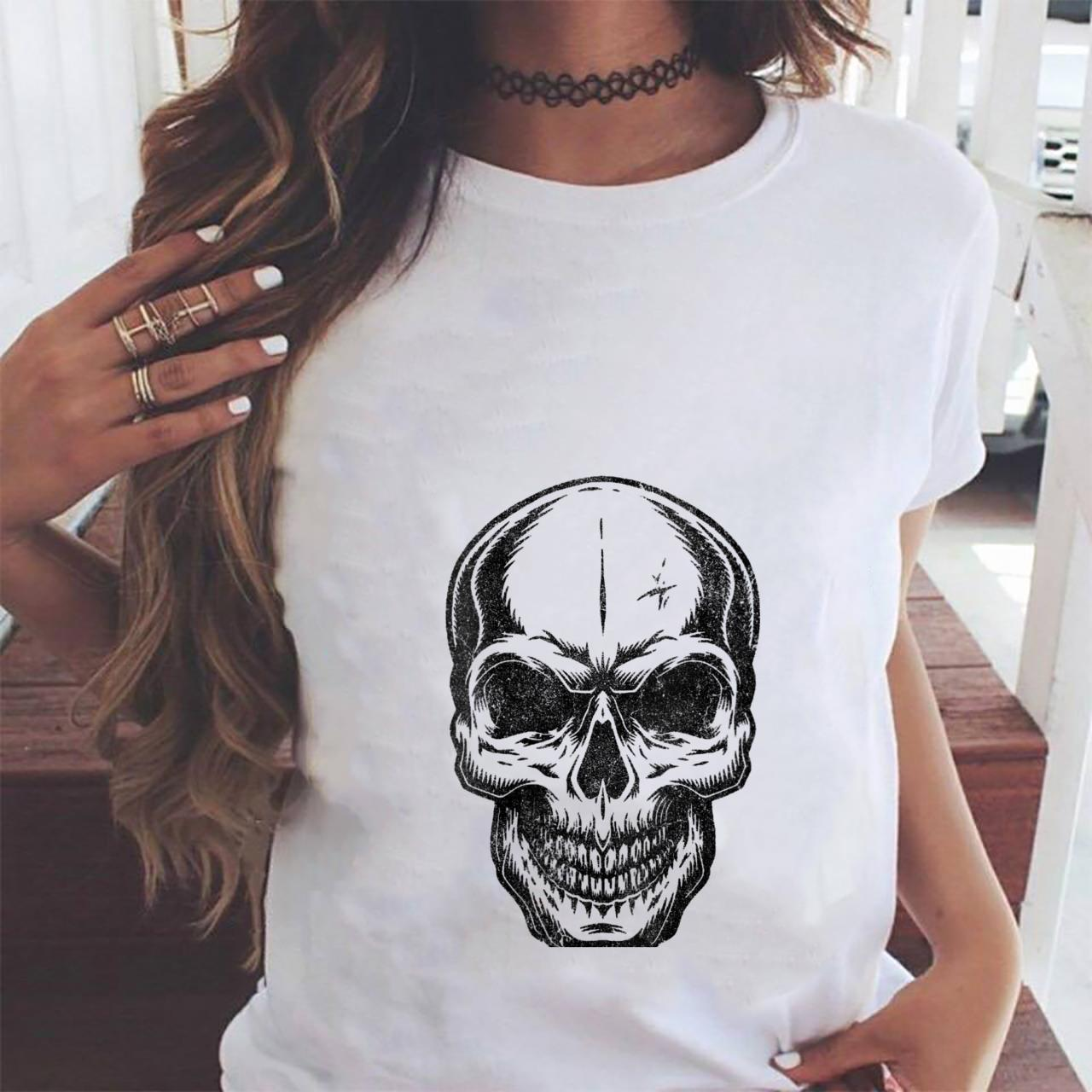 Womens Angry Skeleton Scull Scary Horror Halloween Party Shirt ladies tee