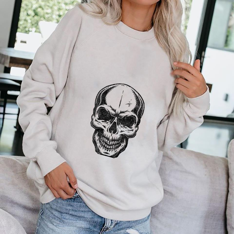 Womens Angry Skeleton Scull Scary Horror Halloween Party Shirt sweater